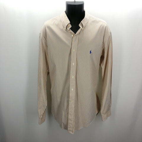 Ralph Lauren Tan Striped Button Down Top Size L 16.5,Tops,Ralph Lauren,Around Again Inc
