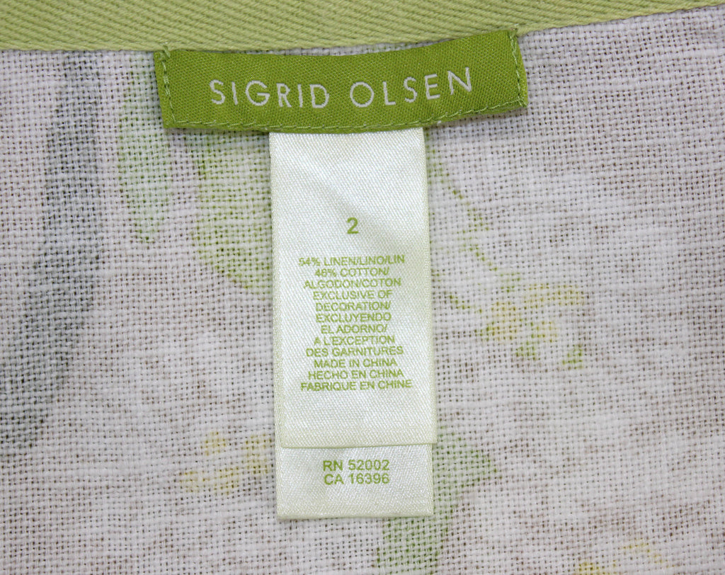 Sigrid Olsen Khaki Green White Daisy Skirt Size 2 - Around Again Inc