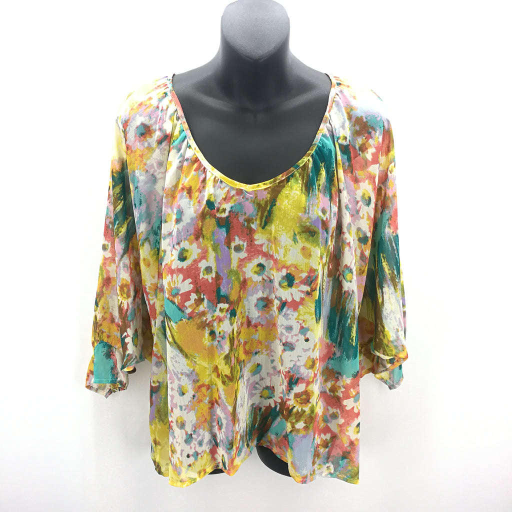 Sunny Leigh Yellow  Peach Teal Floral Sheer Top Size Small,Tops,Sunny Leigh,Around Again Inc