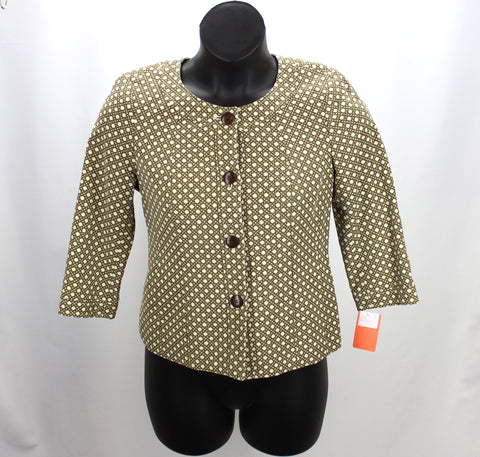 Talbots Brown & Ivory Cropped Jacket Size 10P - Around Again Inc