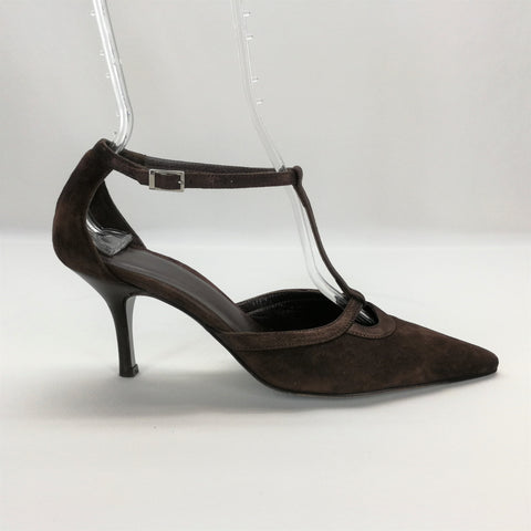 Talbots Collection Brown Suede T-Strap Heels Size 8.5,Shoes,Talbots,Around Again Inc