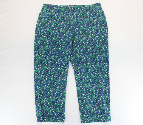 Talbots Forest Green, Navy & White Curvy Floral Twill Capri Pants Size 16 - Around Again Inc