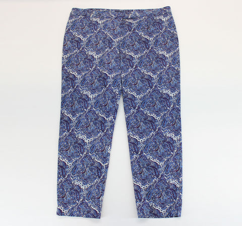 Talbots Plum, Navy & White Modern Paisley Capri Pants Size 18 - Around Again Inc