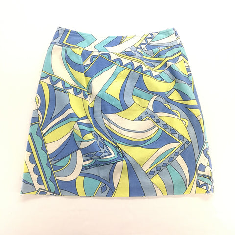 Talbots Petites Aqua Blue Yellow Geometric Skirt Size 8,Skirts,Talbots,Around Again Inc
