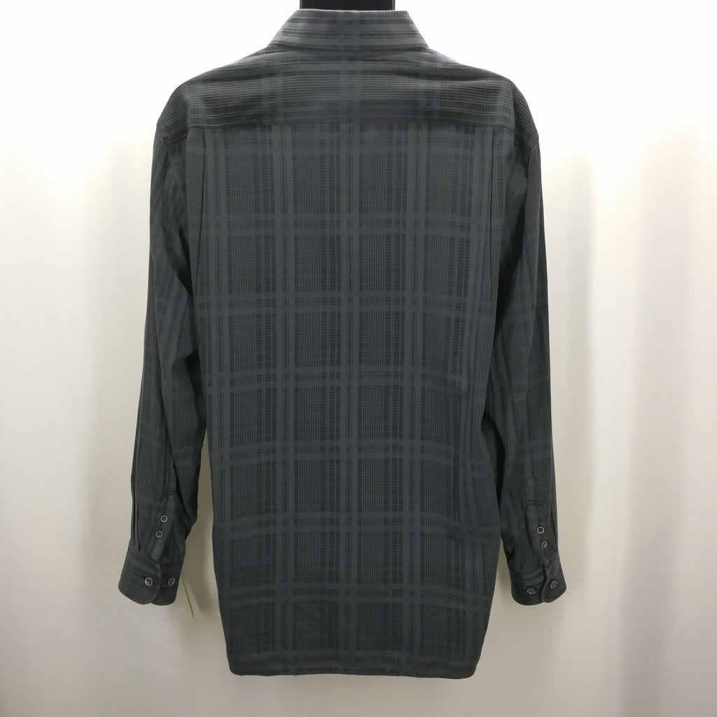 Tommy Bahama Charcoal Grey Plaid Silk Blend Casual Top Size Large,Tops,Tommy Bahama,Around Again Inc
