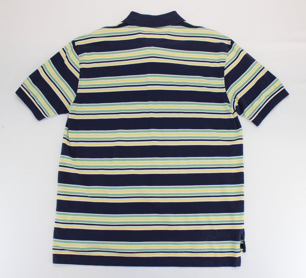 Tommy Hilfiger Navy Yellow Green White Stripes Polo Top Size Large - Around Again Inc