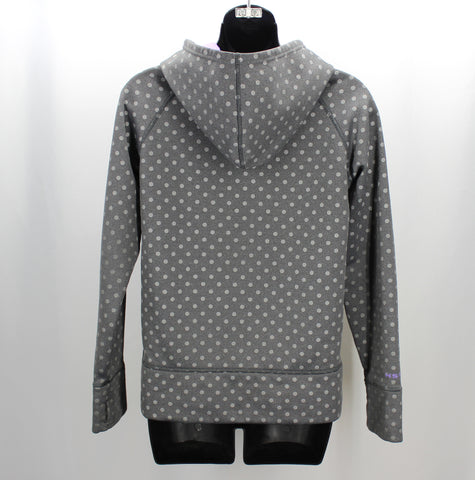 Under Armour Grey & Purple Polka Dot Printed Hooded Girls Top YLG (14-16) Loose - Around Again Inc