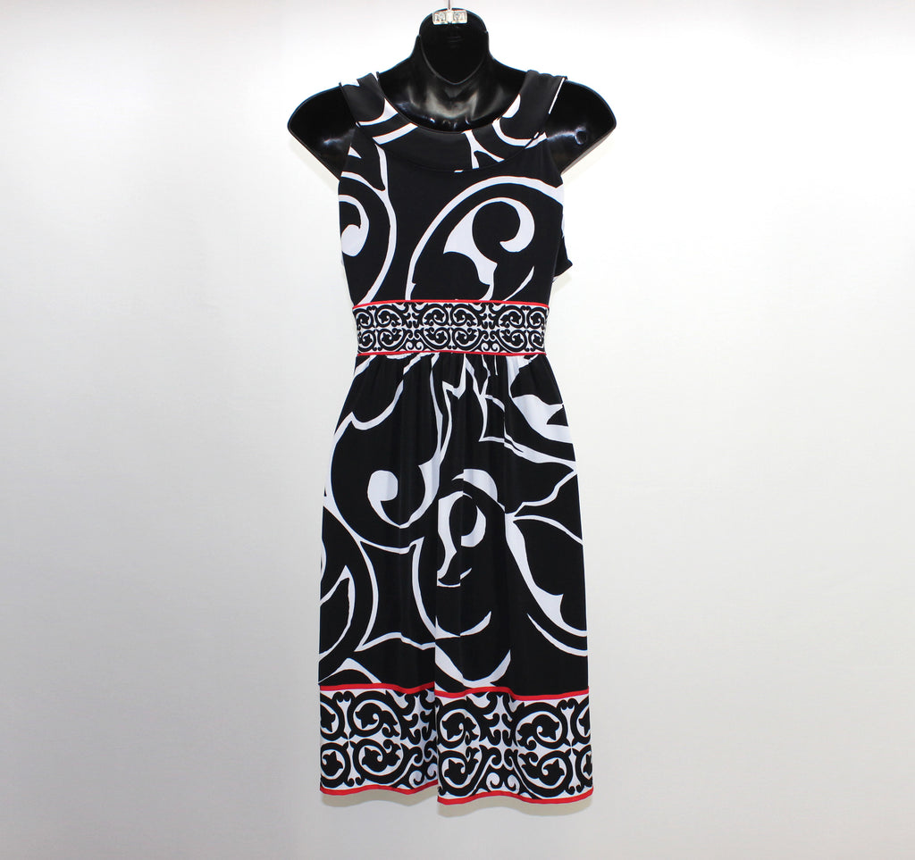 White House Black Market Black White Red Dress Size Small - Around Again Inc