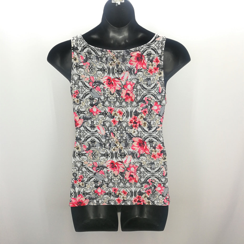 White House Black Market Grey Pink Floral Top Size Large,Tops,White House Black Market,Around Again Inc