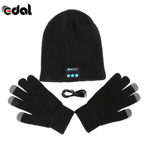 Bluetooth Winter Hat With Touch Gloves Black