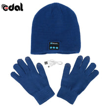 Bluetooth Winter Hat With Touch Gloves Blue
