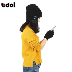 Girl Wearing Bluetooth Winter Hat With Touch Gloves