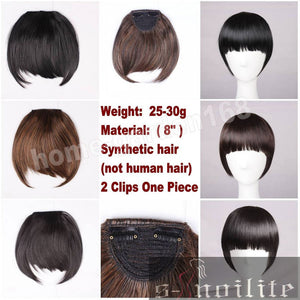 2x Straight Bangs Hair Extensions (Heat Resistant!)