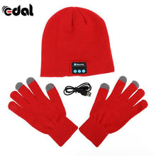 Bluetooth Winter Hat With Touch Gloves Red