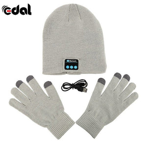 Bluetooth Winter Hat With Touch Gloves Light Grey