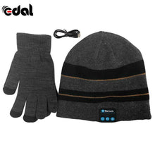 Bluetooth Winter Hat With Touch Gloves Dark Grey Stripes