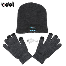 Bluetooth Winter Hat With Touch Gloves Dark Grey