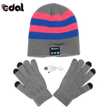 Bluetooth Winter Hat With Touch Gloves Light Grey Stripe