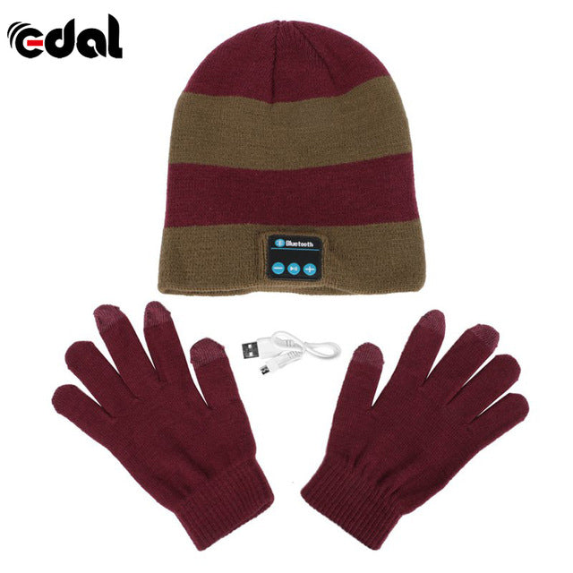 Bluetooth Winter Hat With Touch Gloves Maroon Bronze