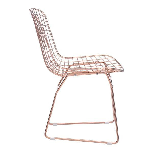 Bertoia Style Rose Gold Dining Chair , EMFURN - 1