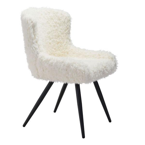 Corri Sherpa Faux Fur Ivory Dining Chair