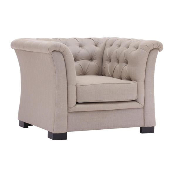 Chesterfield Style Cream Beige Armchair , EMFURN - 1