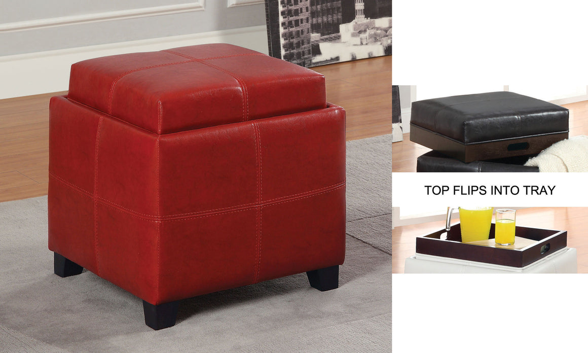 Anton II Red Storage Ottoman