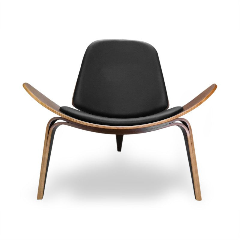 Hans J Wegner Style Aniline Shell Chair Leather