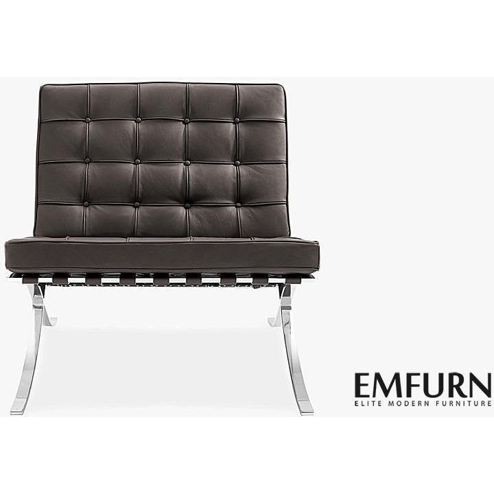 ... Barcelona Style Chair Top Grain Italian Leather / Dark Brown, EMFURN    83 ...