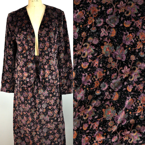 Vintage Floral Soft Black and Purple Suit Jacket Skirt