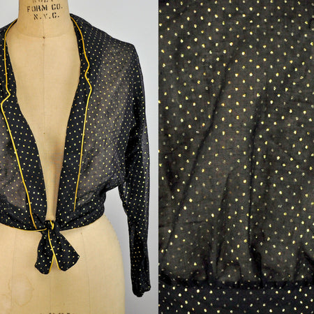 Vintage Andrea Gayle Cream and Black Houndstooth Blouse