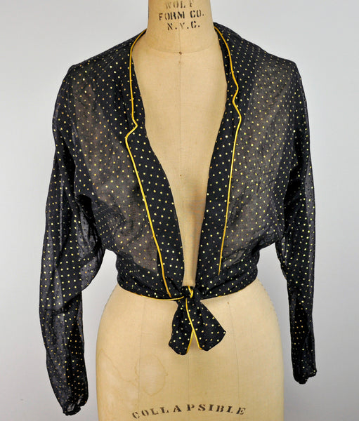 Vintage Black Golden Metallic Tie Cropped Jacket