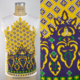 Vintage Indian Printed Mardis Gras Color Sleeveless Shell