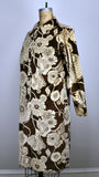 Vintage Velour Floral Graphic Print Maxi Button Down Dress