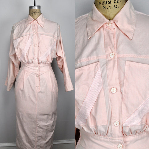 Vintage Pink Pastel Button-Up Pockets Cinched Waste Longsleeve Dress
