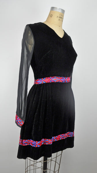 Vintage Black Sheer Sleeved Velvet Mini Dress with Pink and Blue Graphic Trim