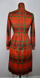Vintage Long Sleeve pleated Red Turtleneck / Mock Turtleneck Festive Dress