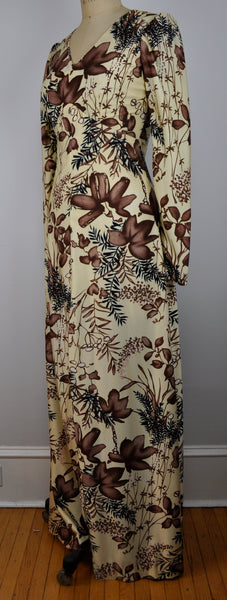 Vintage Maxi Floor length Brown and Cream Floral Dress