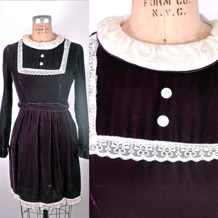 Vintage Black Shortsleeved Dress with Brown Piping and Braided Belt