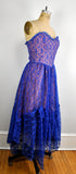 Vintage Royal Blue Lace Strapless Party Dress Sweetheart Neckline Tulle