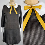 Vintage Lolita Peter Pan Collar Schoolgirl Brown Polka Dotted Swiss Mini Dress with Yellow Bow.