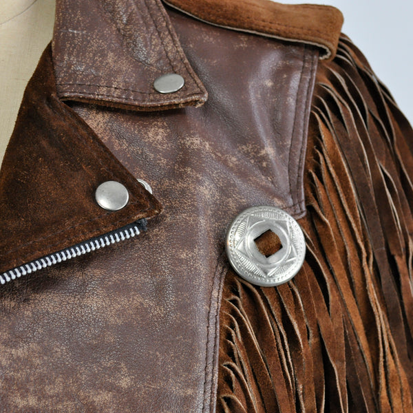 Vintage Vanguard Brown Distressed Leather Suede Fringe Cropped Western Motorcycle Jacket