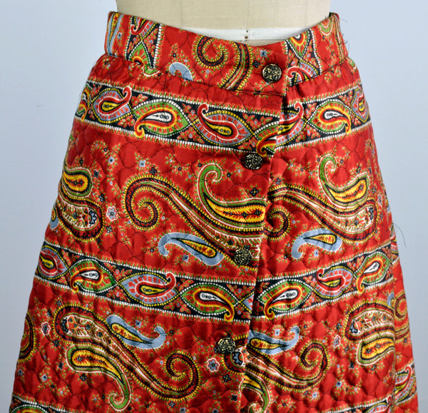 Vintage 1970s Front Maxi Quilted Button Down Paisley Red Skirt