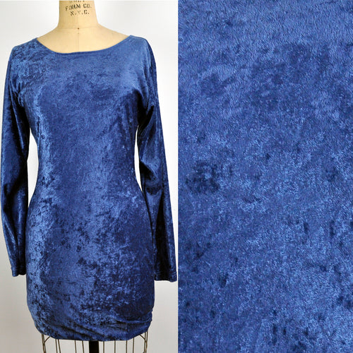 Vintage Blue Crushed Velvet Riverdance Form Fitting Mini Dress