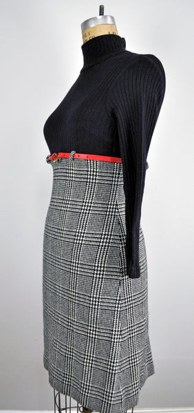 Vintage Empire Waist Black Ribbed Plaid High Waisted Dress