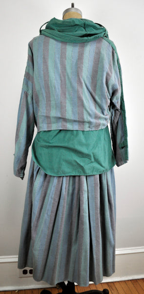Vintage Two-piece Cotton Earthy Hippie Cowl Neck Shirt and Skirt Combo