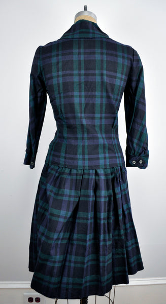 Vintage Scottish Button Down Navy and Green Plaid Two-piece Shirt and Dress