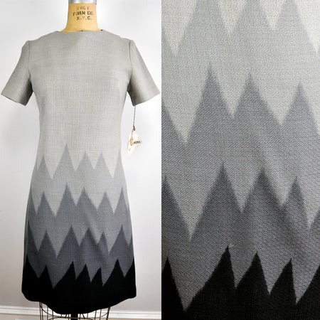 Vintage Virgo II Cowl Neck Sweater Sash Maxi Dress Wavy Geometric Pattern Leather Tip NOS