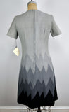 Vintage Chevron Mountain Range Wool Grey Sheath Dress
