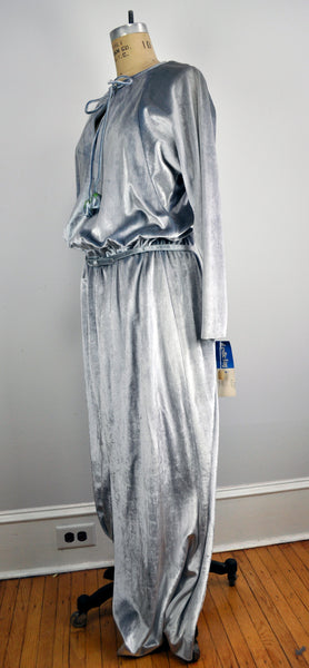 Vintage Long Soft Silver Keyhole Drapey Maxi Dress with Floral Tassels